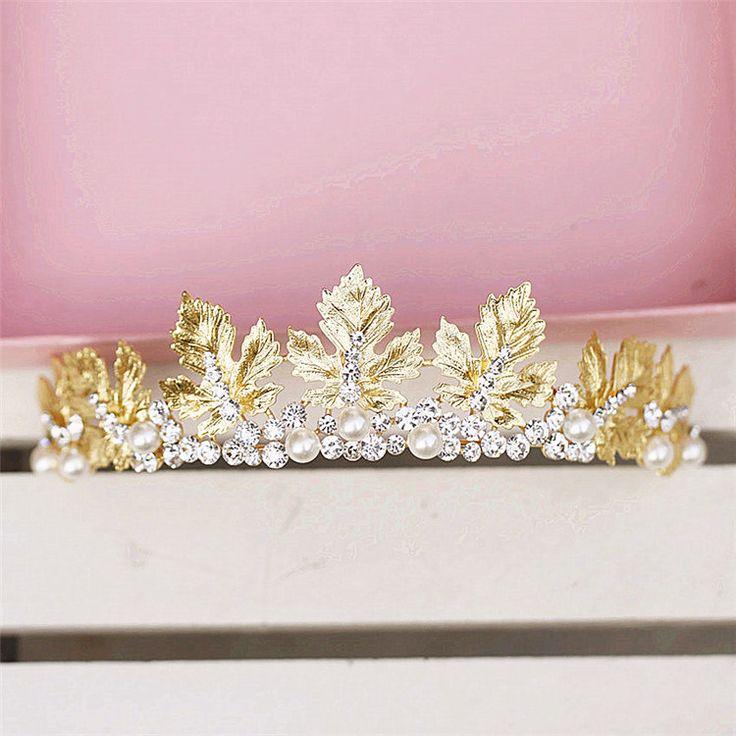 qaqa невесты свадебные украшения золотой лист корона головной убор аксессуары для волос ленты для волос свадебное платье с аксессуарами 6433- Taobao