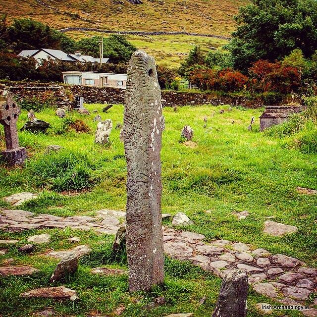 Early Christian Ogham Stone | Kilmalkeder, County Kerry | Ireland | The incised  linear lines represent Ireland's earliest form of writing known as ogham. The inscription on this stone reads 'name of Mael Inbher son of Brocann'