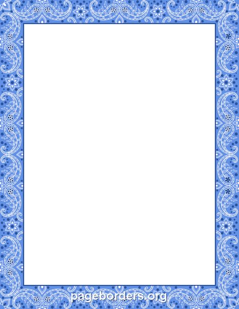 Printable blue bandana border Use the border in Microsoft Word or
