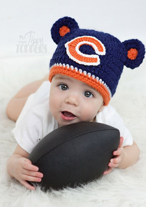 Crocheted CHICAGO BEARS Hat Cap beanie baby girl boy ears or pom poms