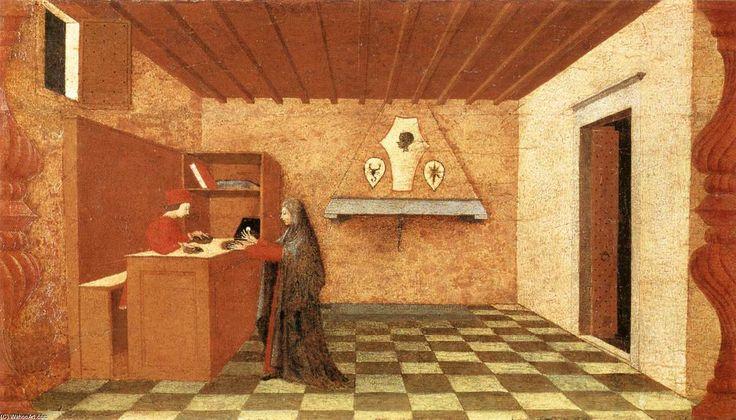 'Miracle de l hostie Desecrated (Scène 1)', panneau de Paolo Uccello (1397-1475, Italy)