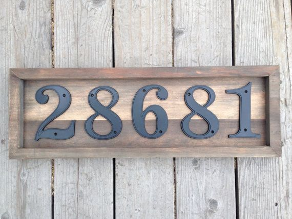Custom Rustic House / Address Numbers Plaque Set on Reclaimed Wood