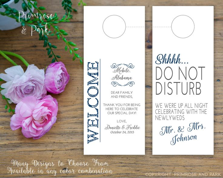 Do Not Disturb Door Hanger plus Welcome Note // Double Sided Hotel Door Tag // Personalized and Custom Made by PrimroseAndPark on Etsy https://www.etsy.com/listing/184788790/do-not-disturb-door-hanger-plus-welcome