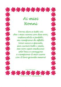 """Idea Regalo – Poesia in Cornice, Fiorellini, """"Ai miei Nonni""""   Stampa, disegna e crea con Filastrocche.it"""