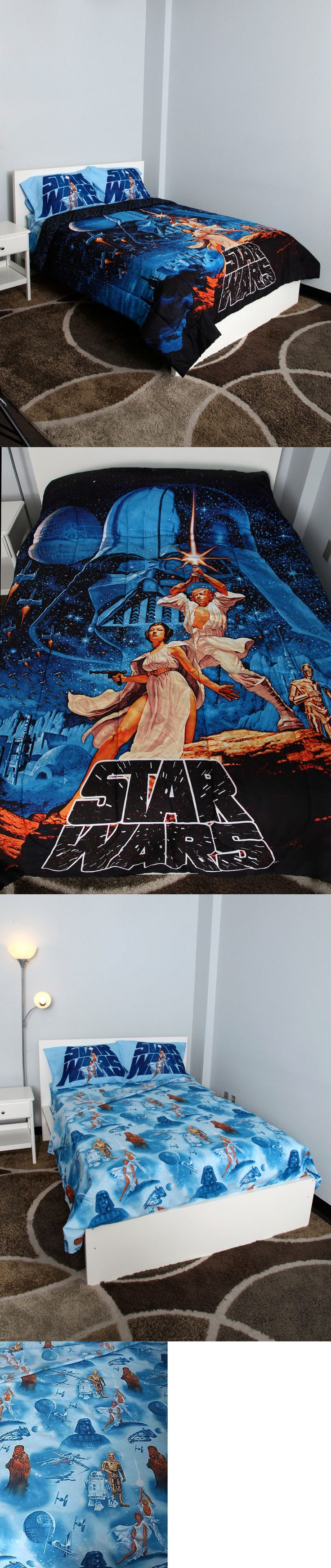 Kids at Home: New! Star Wars Poster Full/Queen Comforter 5 Pc Bedding Sheet Set Disney BUY IT NOW ONLY: $134.95