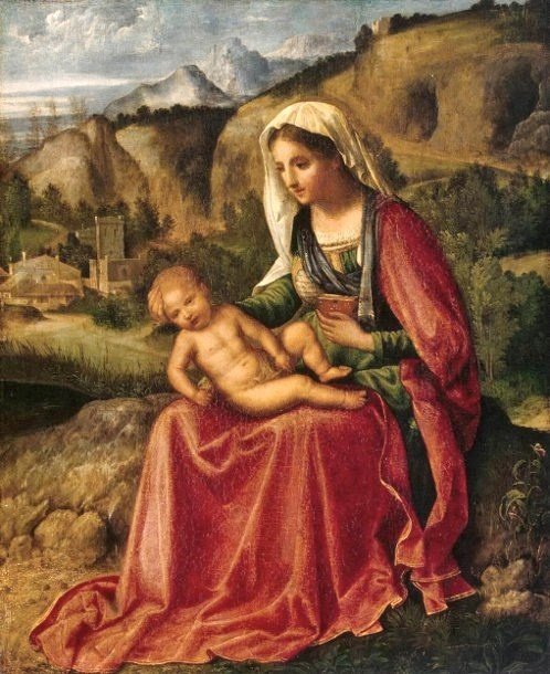 Giorgione - Virgina and Child in a Landscape.  Art Experience NYC  www.artexperiencenyc.com/social_login/?utm_source=pinterest_medium=pins_content=pinterest_pins_campaign=pinterest_initial
