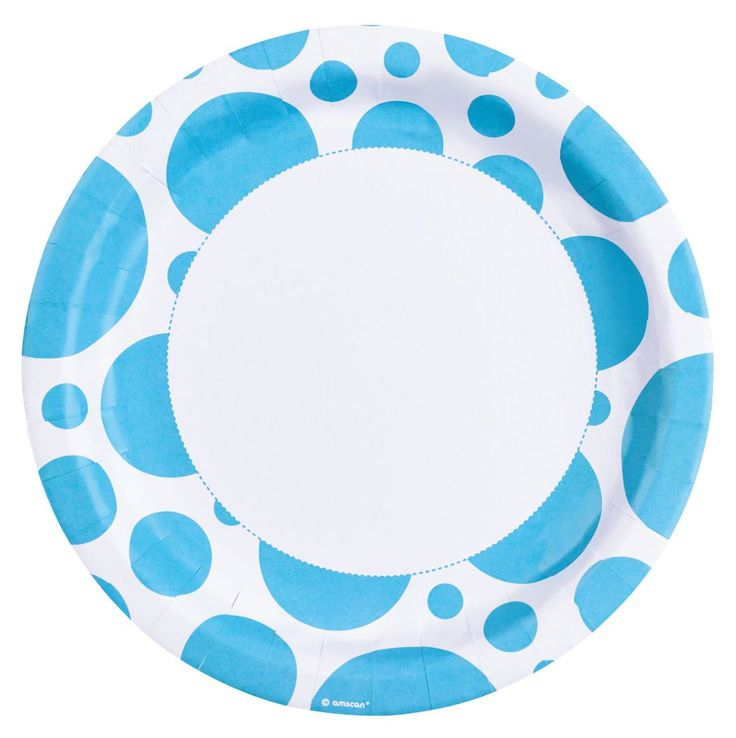 Talerzyki papierowe błękitne kropki-23cm