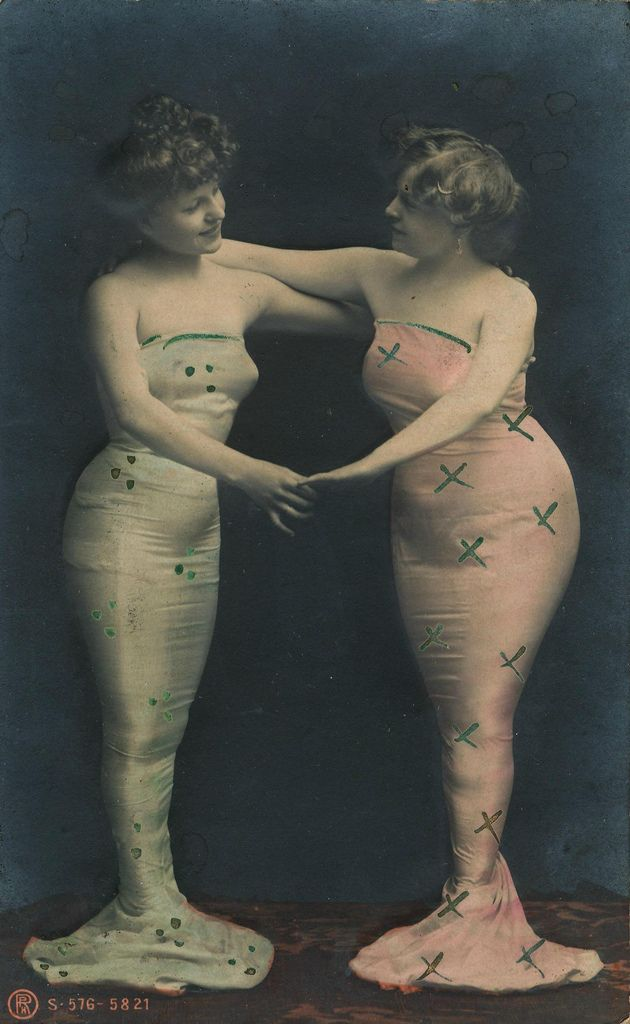 Water Wench Wednesday  queering:    Two mermaids on a vintage postcard, circa 1908  [via janwillemsen] with thanks toliquidnight