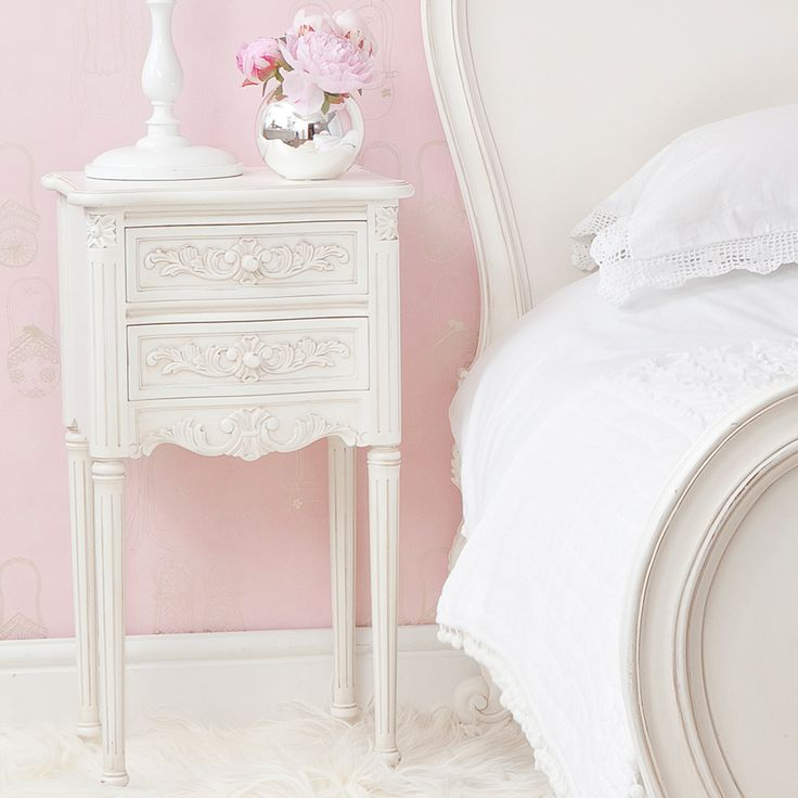 Provencal Pretty White Bedside Table  |  Bedside Tables  |  Tables  |  French Bedroom Company