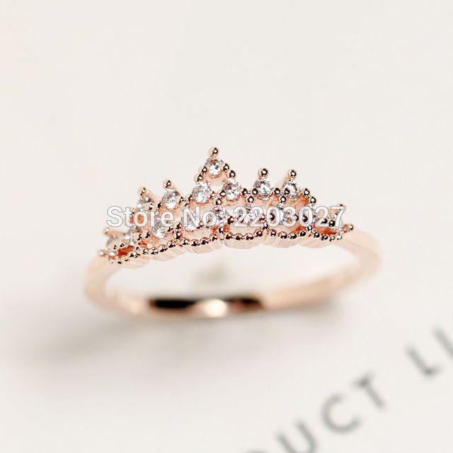 De Moda de corea Delicado Encaje Crystal Crown Anillo Accesorios de La Joyería Femenina Regalos