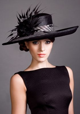 Stripe Straw Sidesweep Hat with Feathers & Silk Flowers