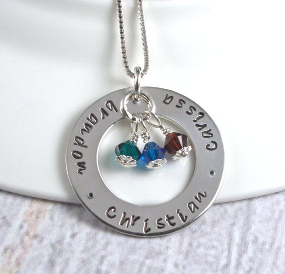 Hand Stamped Mommy Necklace, Sterling Silver Custom Personalized Jewelry, Handstamped Washer with Three or Four Names, Mothers Necklace