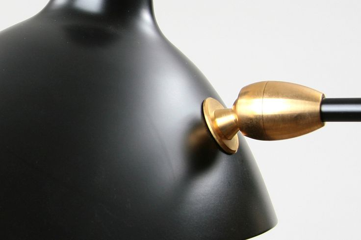 Details: Serge Mouille Floor Lamp with Brass