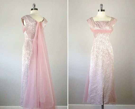 Vintage 1950s Dress /  1950s Pink Damask Gown /  by bloombird, $128.00