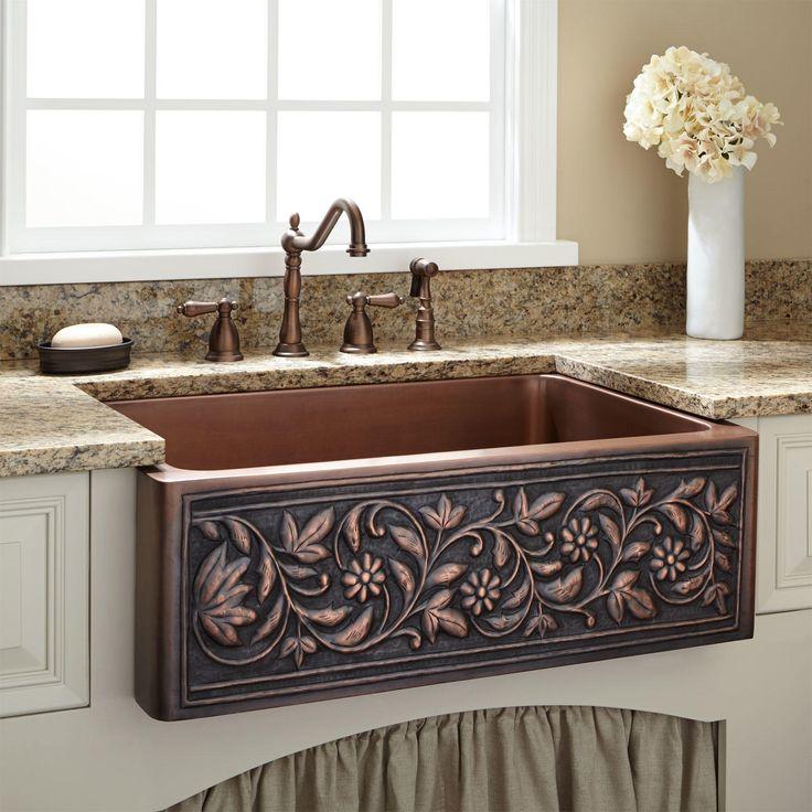 "30"" Vine Design Copper Farmhouse Sink - Farmhouse Sinks - Kitchen Sinks - Kitchen"