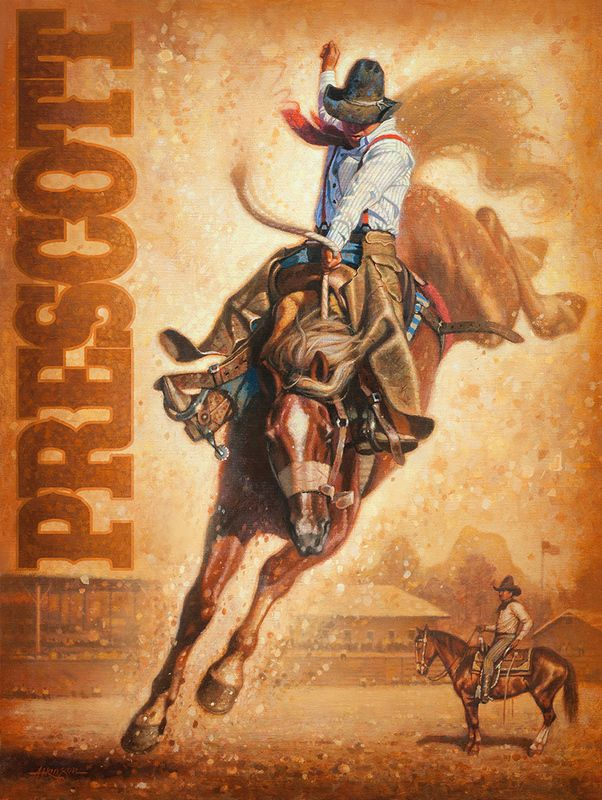 Prescott Rodeo Poster painting by Steve Atkinson [Prescott, Arizona is the home of the world's oldest rodeo]