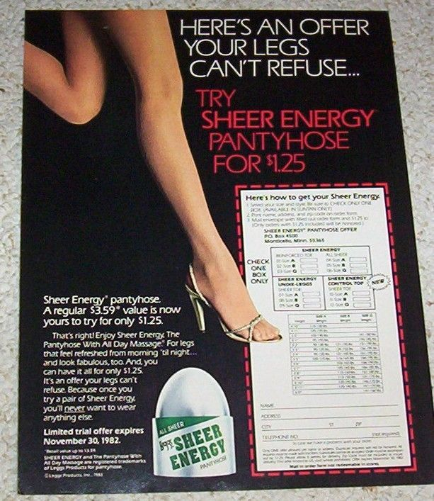 Sheer energy pantyhose ads