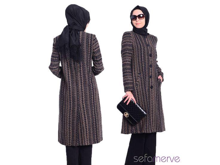 -KARGO BEDAVA!- Tubanur Tesettür Çizgili Kaşe Kaban 2311-01 Vizon #tesetturgiyim #tesettur #sefamerve #hijab #tubanur