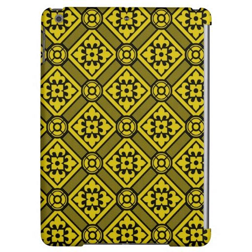 Medieval romanesque yellow lillies on black cover for iPad air