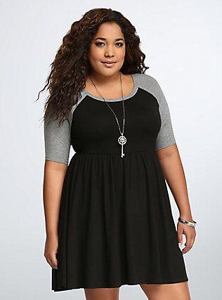 Raglan Skater Dress, DEEP BLACK