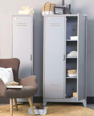 Armoire penderie en métal type casier 2 portes