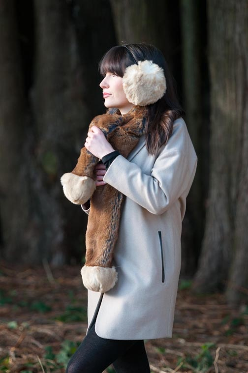 Ear Muffs - Tomisina Teddy.   Bunny Tail Scarf - Margaret Mink.  Coming soon at asos.com