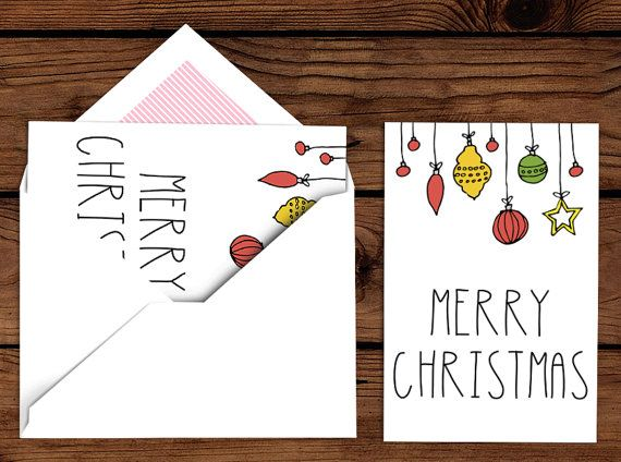 Simple Ornament Christmas Card  Merry by CharminglyPrinted on Etsy