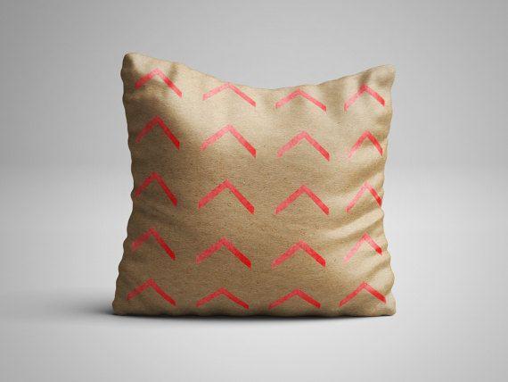 Red Arrow on Faux Kraft Throw Pillow - Hipster Pattern Pillow with insert - Seamless Pattern Decorative Pillow - Scandinavian Decor