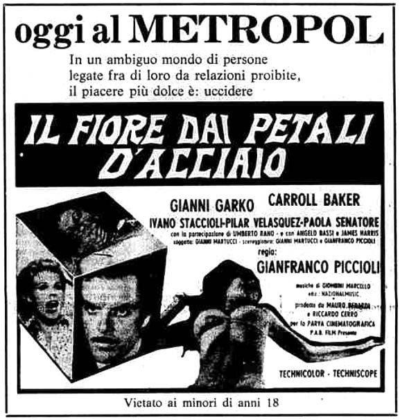 """""""Il fiore dai petali d'acciaio"""", noto negli USA come """"The Flower with the Deadly Sting"""" (1973) di Gianfranco Piccioli, con Gianni Garko e Carroll Baker. Italian release: November 23, 1973 #MoviePosters"""