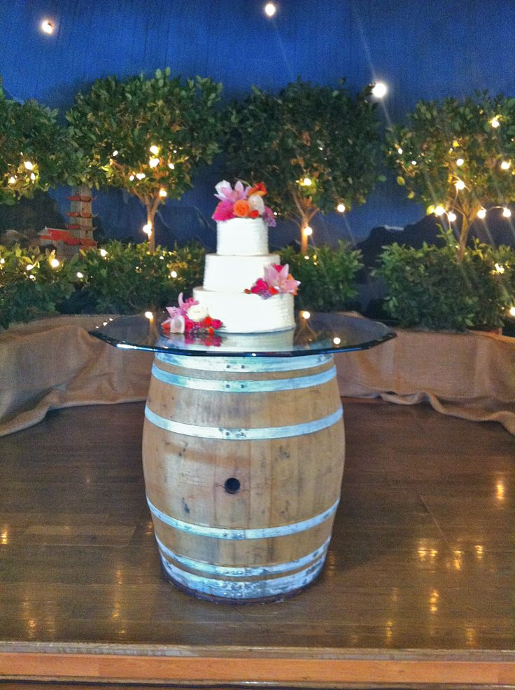 Wine Barrel Wedding Cake At Barn Wedding I Don T Like The