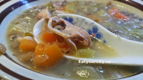 Chicken or turkey vege wild rice or egg noodle slowcooker/crockpot soup recipe! Perfect to use up leftover roasted bird, or if you're just feeling super lazy and want a easy savory and hearty soup.