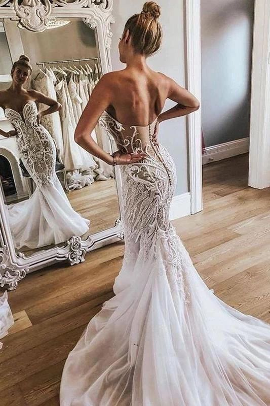 Sexy Mermaid Sweetheart Ivory Strapless Wedding Dresses with Lace Appliques W1090