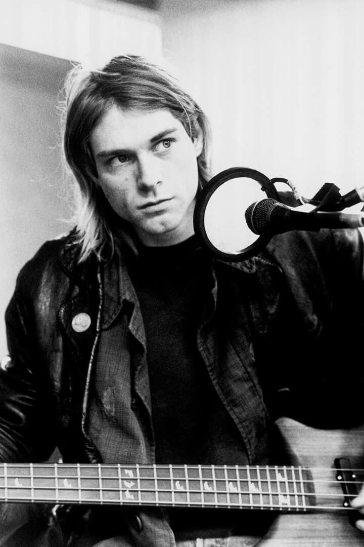 Nirvana performs an acoustic session in Hilversum, Netherlands, for 'NOB radio' using radio-leased instruments