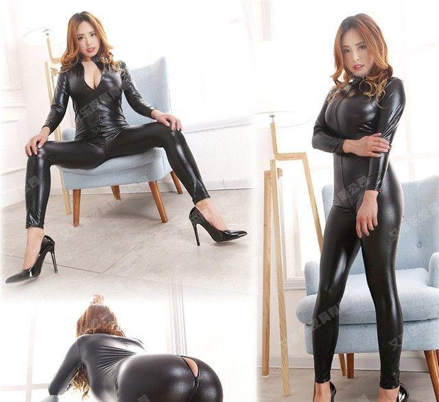 Vinyl Catsuit Women Faux Leather Open Crotch PVC