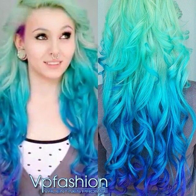 The Hottest Hair Dye Colors and Ideas Inspired by Vpfashion Beauties blue ombre hair colors blue ombre hair waves