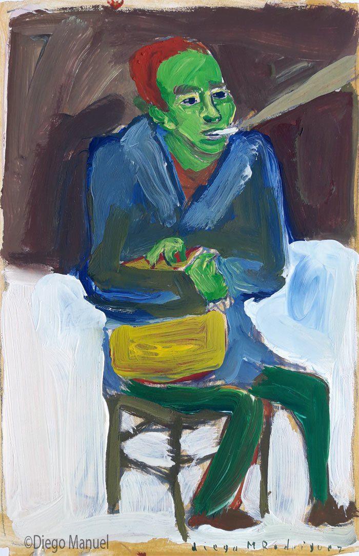 """""""Fumando espero"""", gouache sobre papel, 24x 28 cm., 1998"""