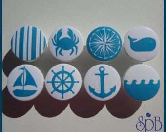 Nautical Drawer Knobs Anchor Knobs Red by SweetPetitesBoutique