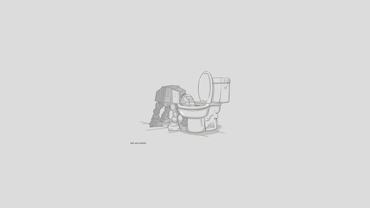 General 1920x1080 Star Wars gray background simple background AT-AT humor digital art artwork