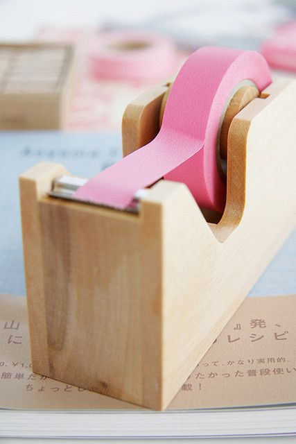 Adding a touch of colour - love this colour pop with the natural wooden #cellotape #holder.