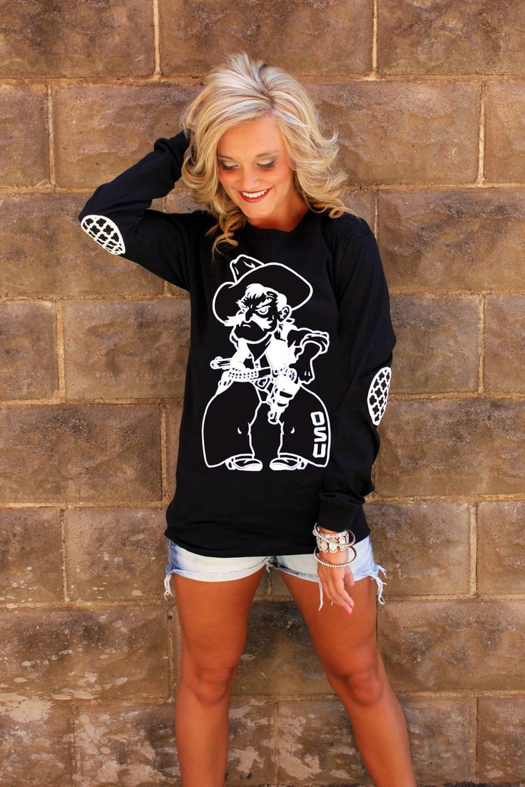 this elbow patch long sleeve shirt is a must have. GamedayCouture.com