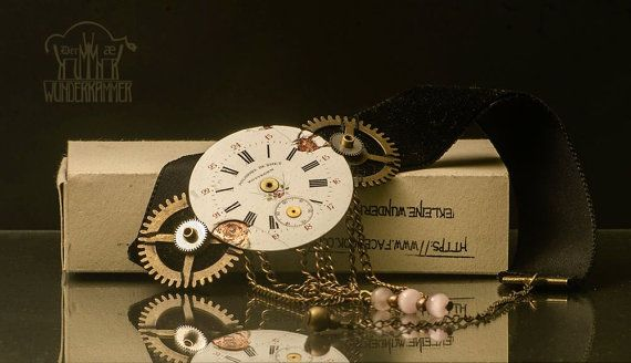 Steampunk inspired vintage watch face chocker