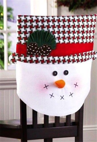 2015 Christmas plaid chair cover set, Christmas cotton Mrs. snowman cover, Christmas home decor - LoveItSoMuch.com