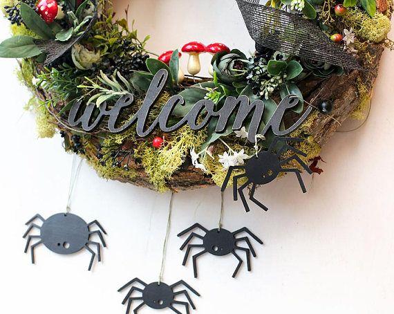 Halloween wreath Halloween front door wreath outdoor Halloween decor fall wreath moss wreath Halloween outdoor decorations door decor