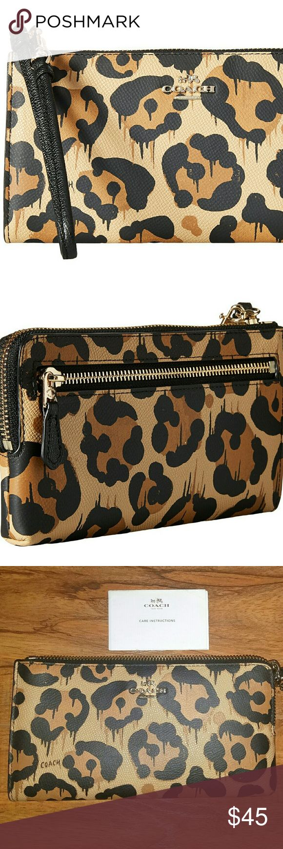 Women's Brown Leopard Ocelot Print Zip Wallet Authenticatic Coach leather wrislet wallet, used but in awesome condition. This handcrafted accessory was designed to hold small electronics like iPhone Samsung Galaxy and other mobile devices. Hard to find only a few out there. The perfect wallet for the bold fun-loving gal. Coach Bags Clutches & Wristlets