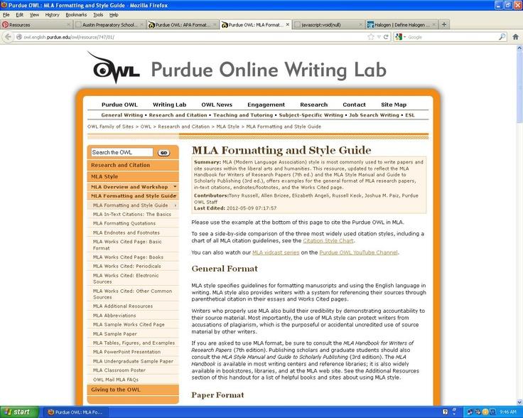 Purdue owl online writing lab