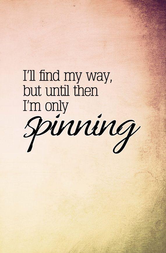 "A crisp print features lyrics of Jack's Mannequin's ""Spinning."""