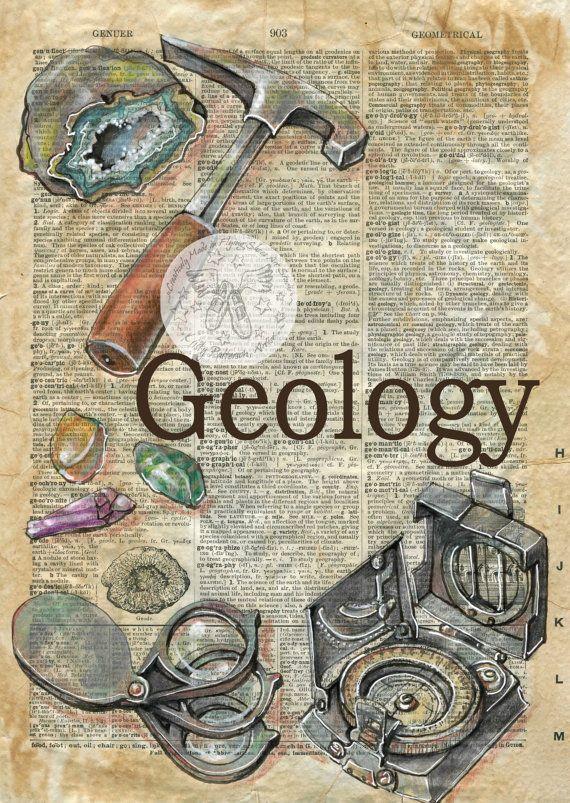 Druck: Geologie gemischte Medien Zeichnung auf antike Wörterbuch