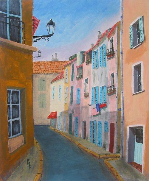 """© Gaudir13   """"Martigues - La rue rose"""" acrylique sur toile 46 x 38 cm"""