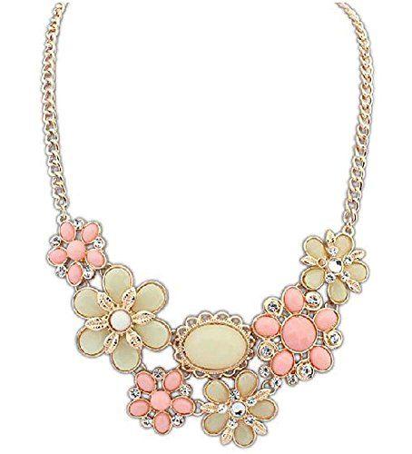 KAIKSO-IN Frauen-Weinlese Bib Opulente Halskette Partei Schmuck Halskette Chunky (rosa)