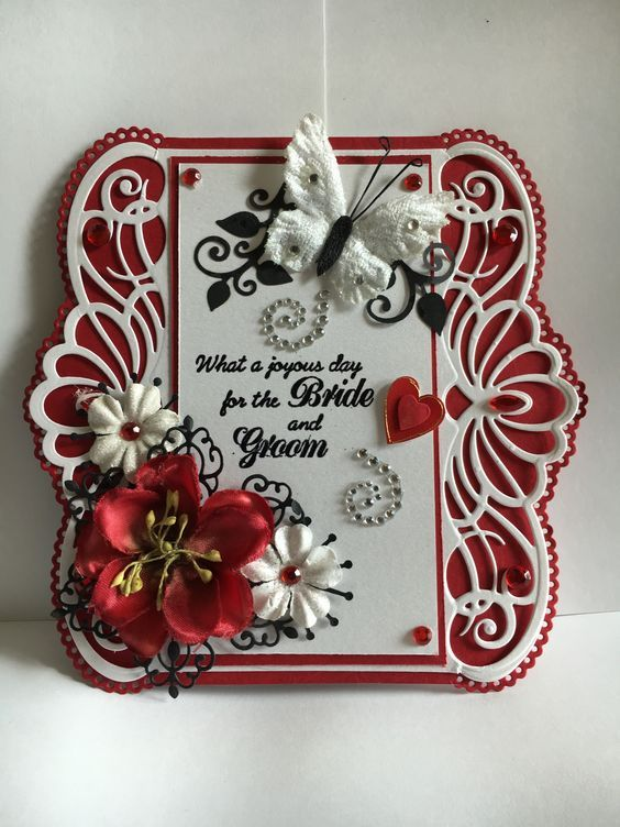 Wedding card Heartfelt Creations Regal Border dies. Red and white